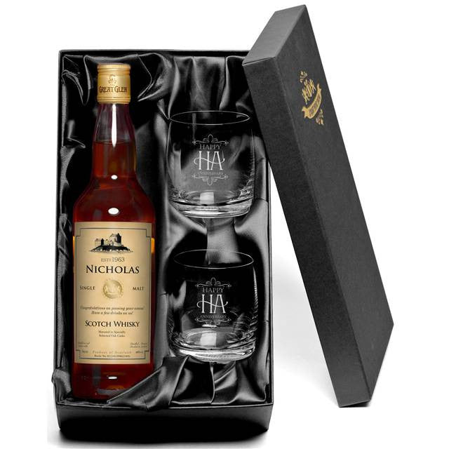Personalised Single Malt Scotch Whisky & Tumblers Gift-pack