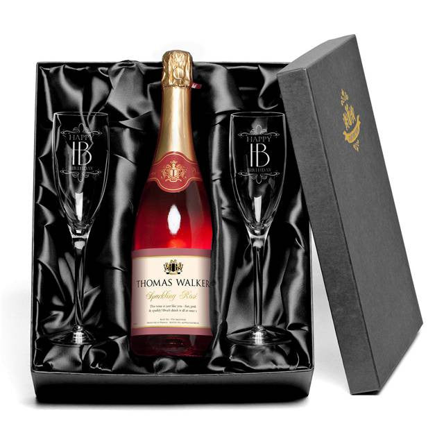 Personalised Sparkling Rose & Flutes Gift-pack for Birthdays