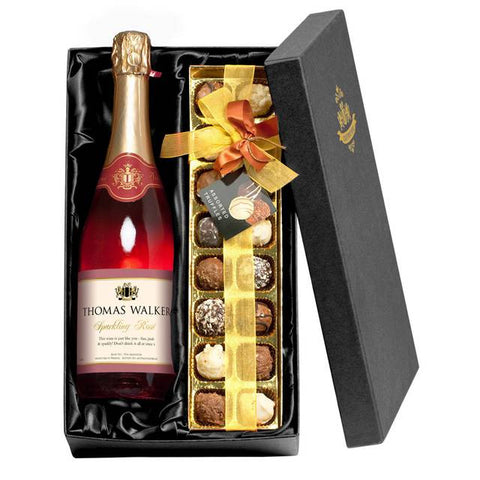 Personalised Sparkling Rose Wine with Chocolates Gift Pack