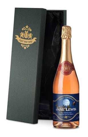 Personalised Christmas Sparkling Rose Wine with Santa Label