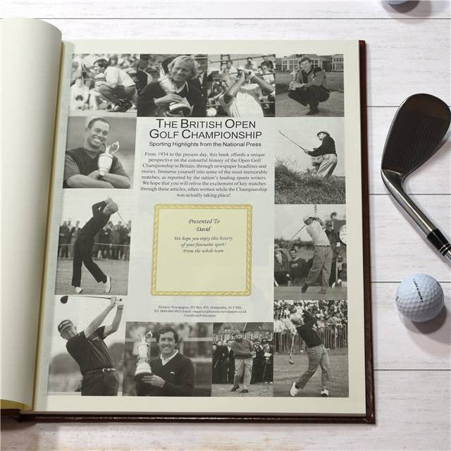 Personalised British Open Golf Newspaper Book