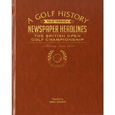 Personalised British Open Golf Newspaper Book - Personalised Gift Solutions - 1