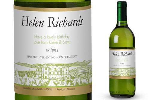 Personalised White Wine & Glasses Giftpack for Birthdays - Personalised Gift Solutions - 2