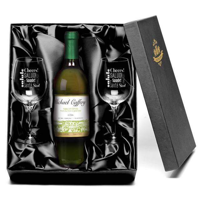 Personalised White Wine & Glasses Giftpack for Any Occasion