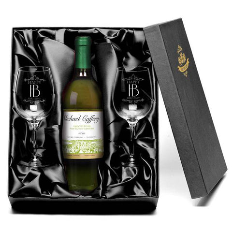 Personalised White Wine & Glasses Giftpack for Birthdays
