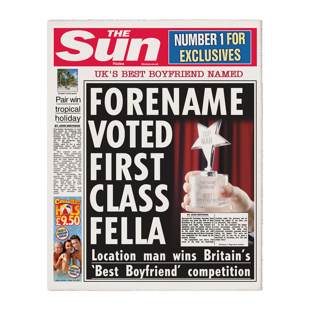 Personalised The Sun Best Boyfriend Newspaper - Personalised Gift Solutions - 1