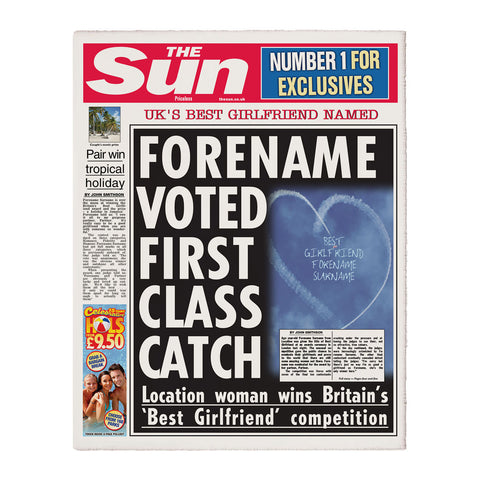 Personalised The Sun Best Girlfriend Newspaper