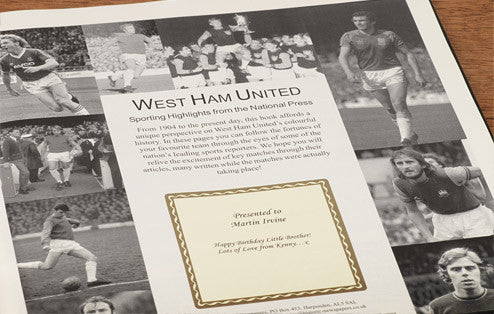 Personalised West Ham Football Newspaper Book - Personalised Gift Solutions - 2