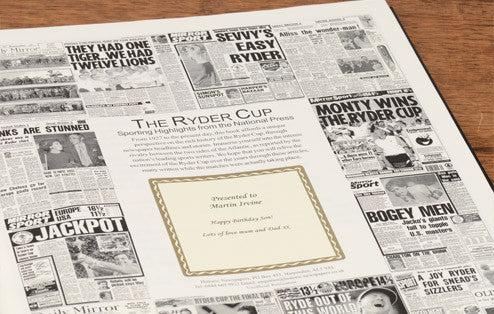 Personalised Ryder Cup Golf Newspaper Book - Personalised Gift Solutions - 2