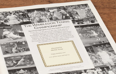 Personalised Wimbledon Tennis Newspaper Book - Personalised Gift Solutions - 2