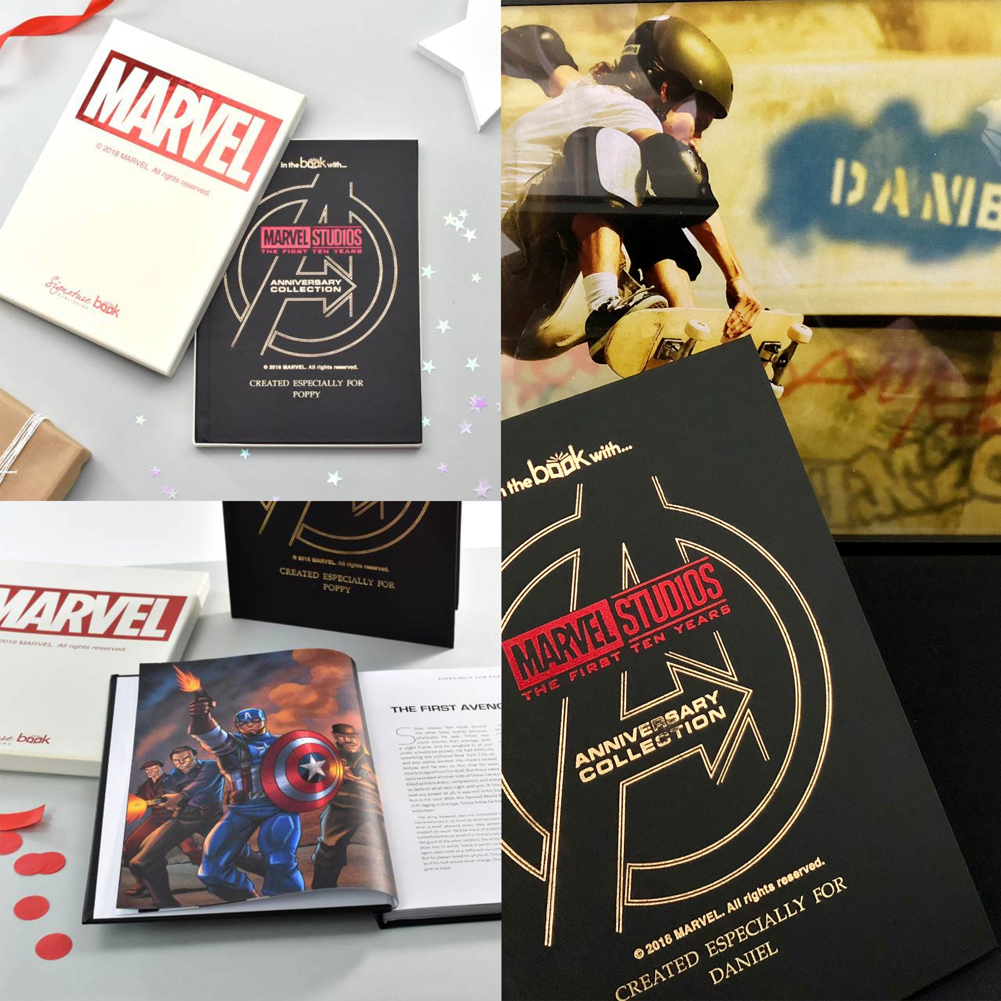 "The PGB Exclusive ""BLOCKBUSTER"" Gift Set, Personalised Marvel 10 Year Anniversary Book & Framed Action Print"