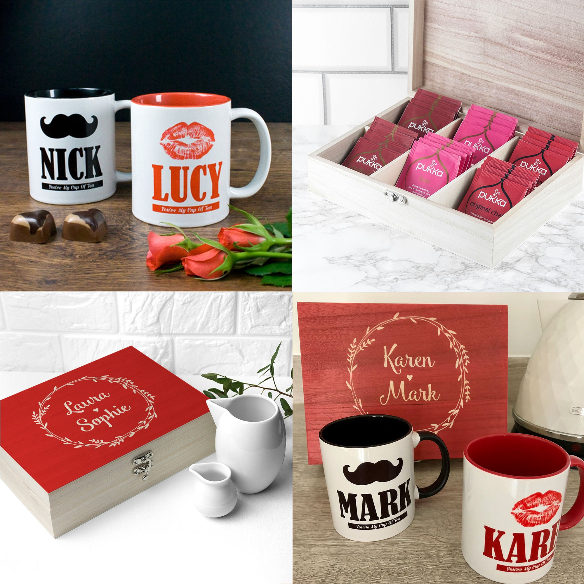 Couples Personalised Romantic Tea Box & Mugs Exclusive Gift set