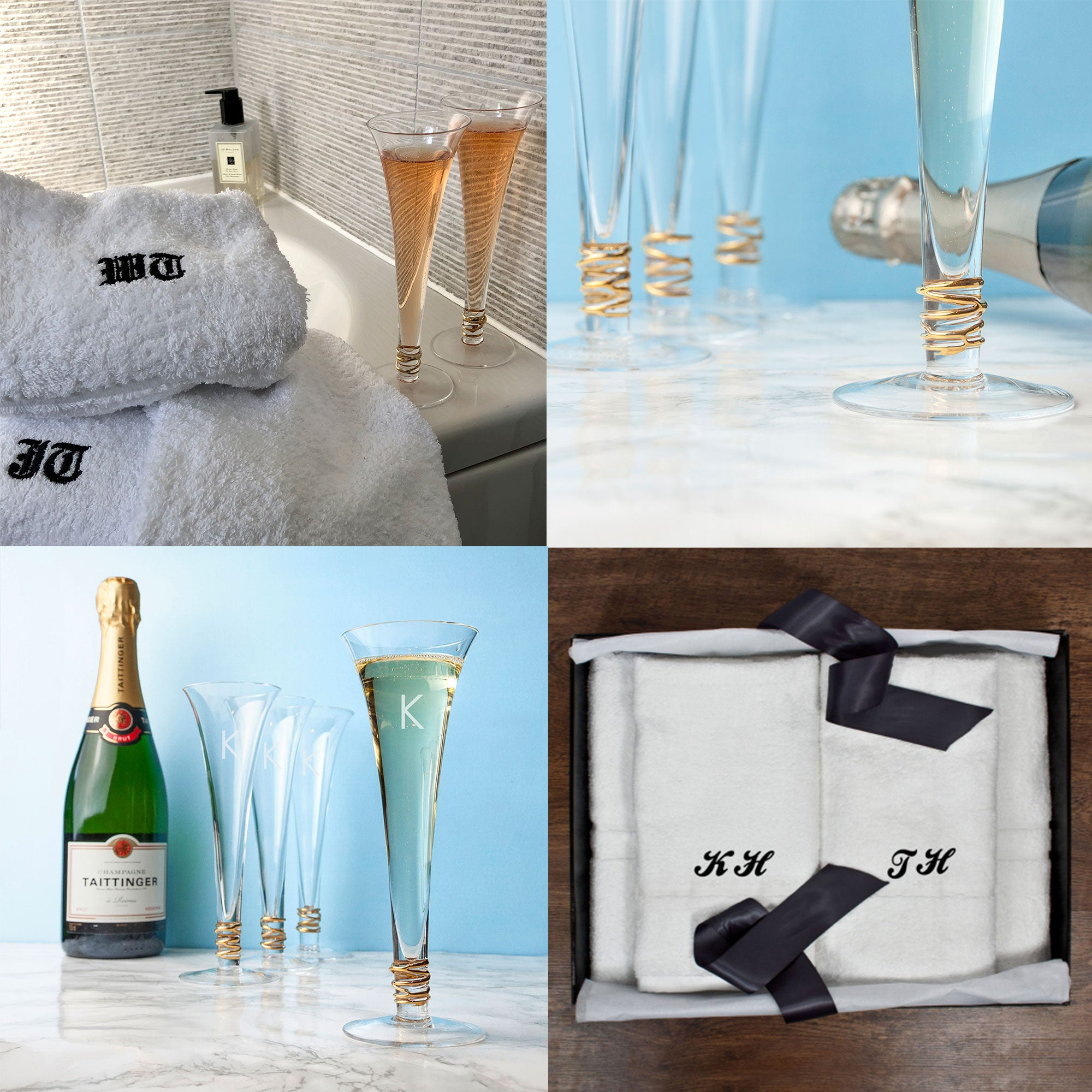 "The PGB Exclusive ""BUBBLES"" Gift Set, Four LSA Handmade Bubbles Flutes and His & Hers Luxury Hand and Bath Towel Set"