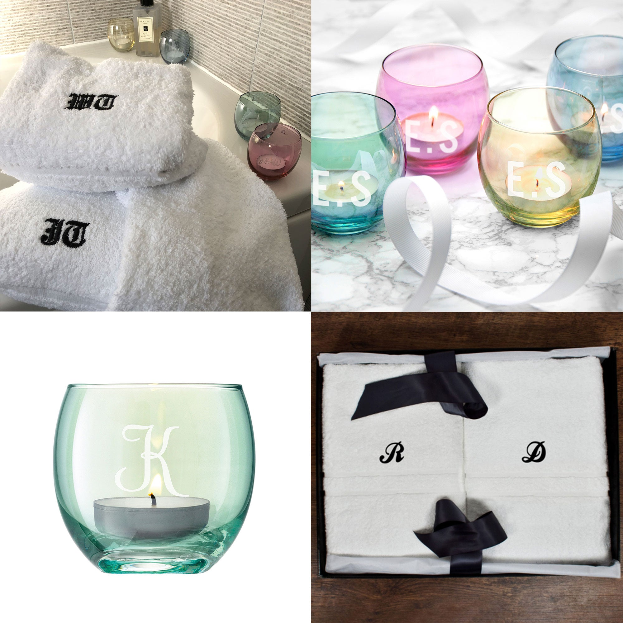 "The ""Couples"" Gift Set, His & Hers Luxury Towel Set and 4 LSA Tea Light Holders"