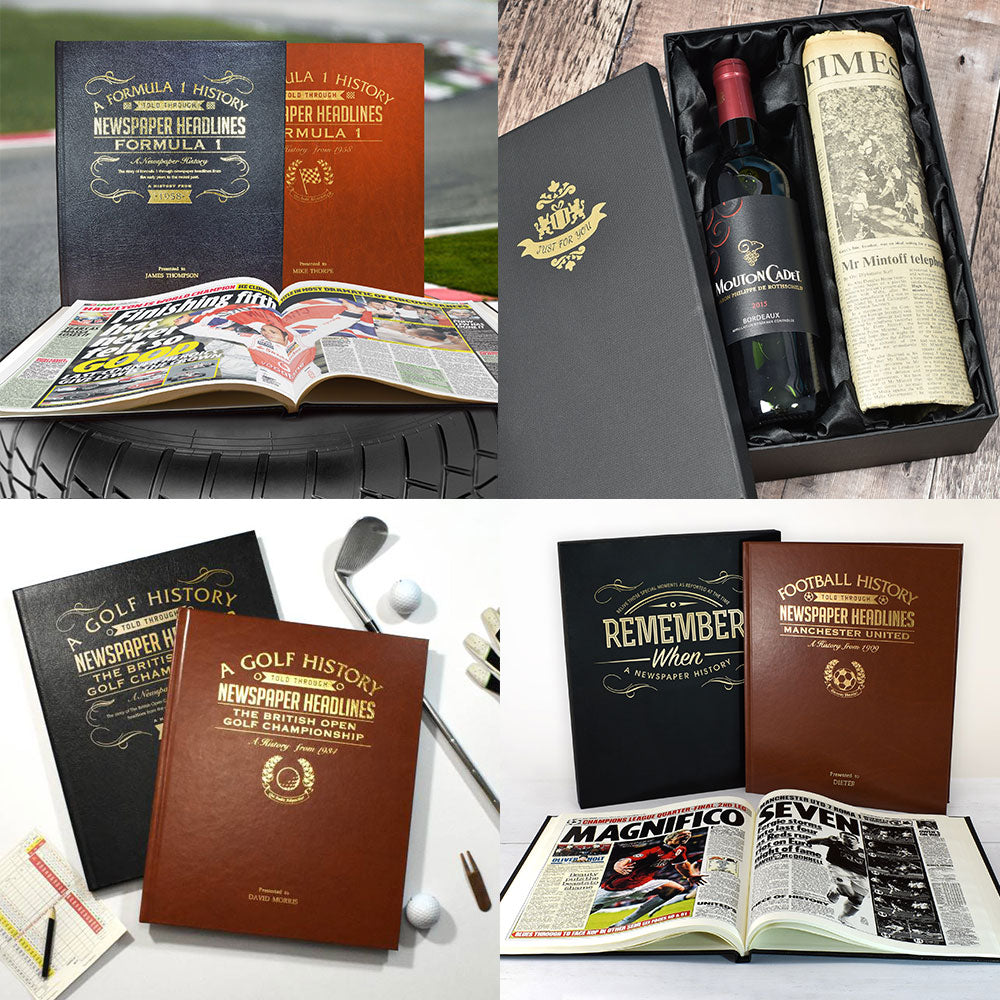 "The ""VINTAGE"" Exclusive Gift Set, Mouton Cadet Wine, Original Newspaper and Sport History Book"