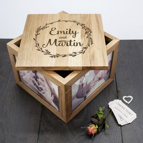 Personalised Large Oak Photo Keepsake Box For Couples - Wreath Design