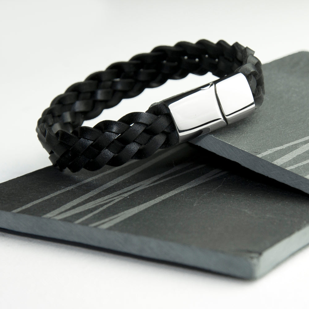Personalised Men's Interwoven Leather Bracelet