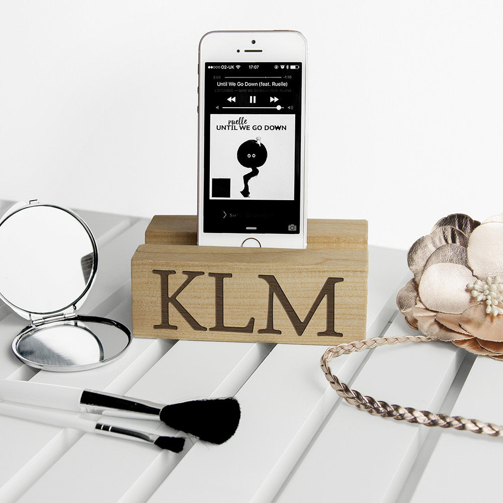 Personalised Wooden Phone Stand & Tidy - Personalised Gift Solutions - 1