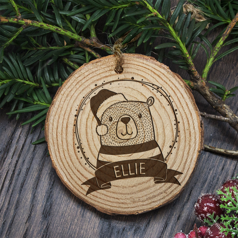 Personalised Christmas Hanging Decoration - Woodland Bear - Personalised Gift Solutions - 2