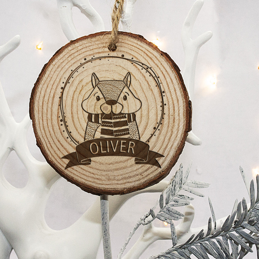 Personalised Christmas Hanging Decoration - Woodland Chipmunk - Personalised Gift Solutions - 2