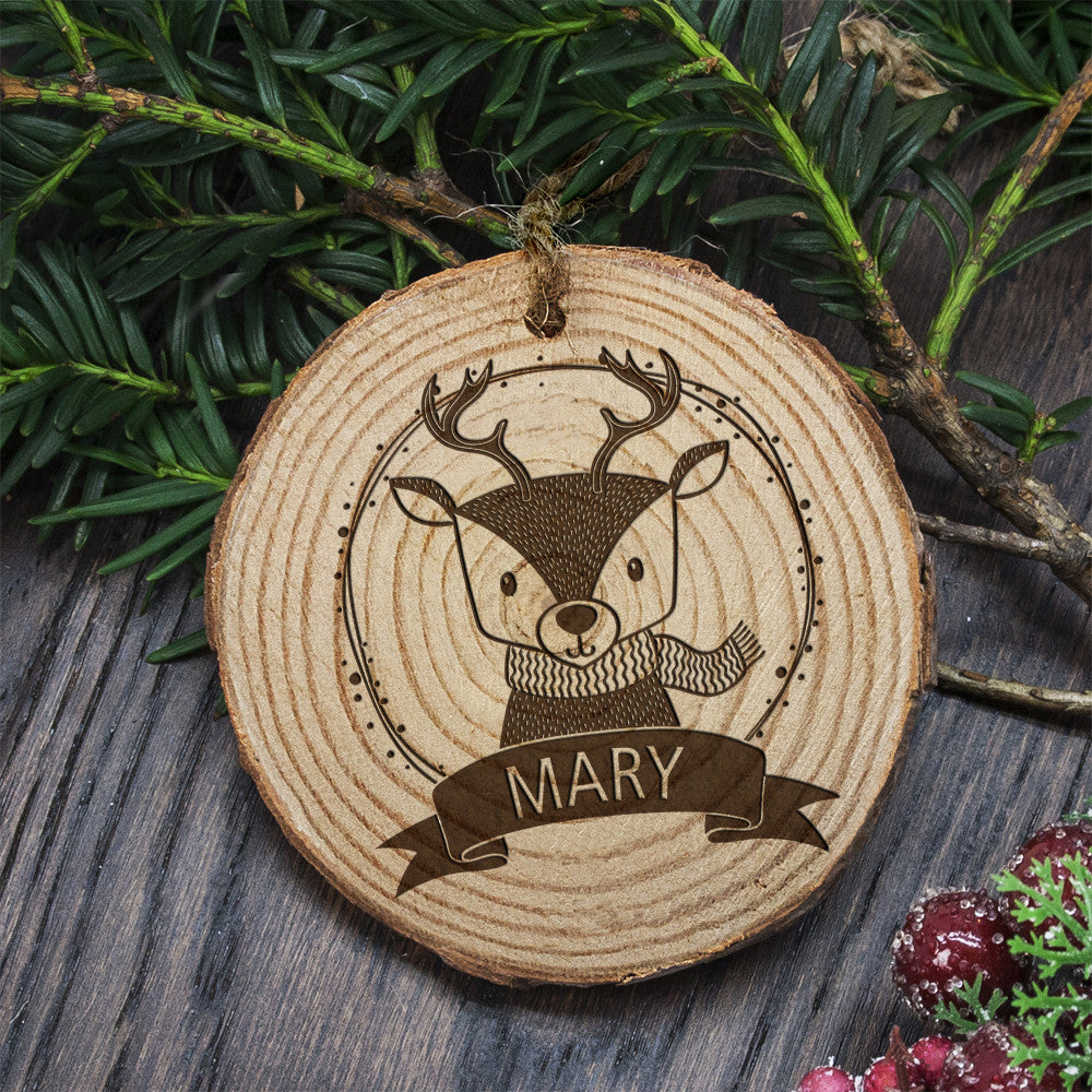 Personalised Christmas Hanging Decoration - Woodland Reindeer - Personalised Gift Solutions - 2