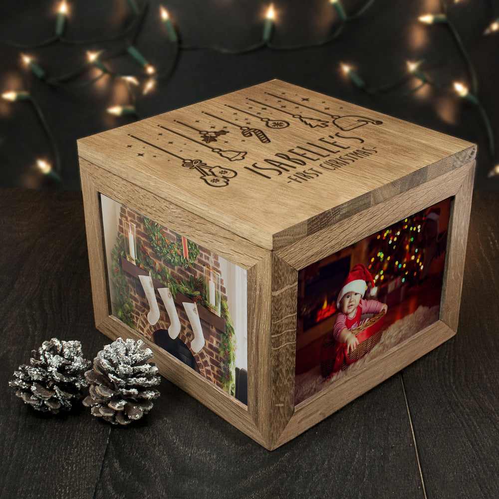 Personalised Large Oak Photo Keepsake Box - Baby's First Christmas Design - Personalised Gift Solutions - 6