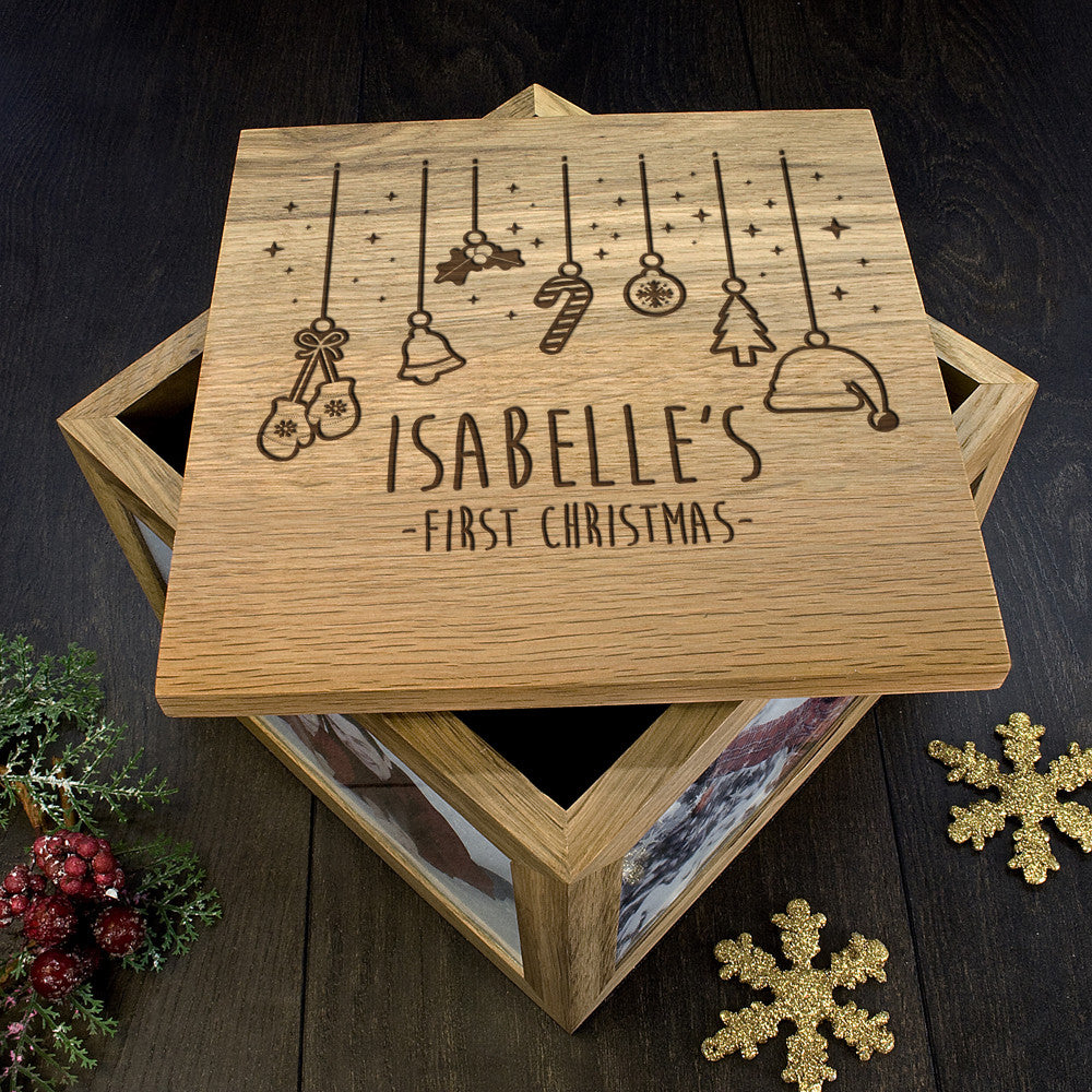 Personalised Large Oak Photo Keepsake Box - Baby's First Christmas Design - Personalised Gift Solutions - 5