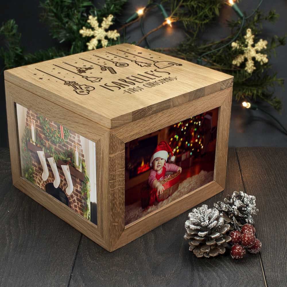Personalised Large Oak Photo Keepsake Box - Baby's First Christmas Design - Personalised Gift Solutions - 3