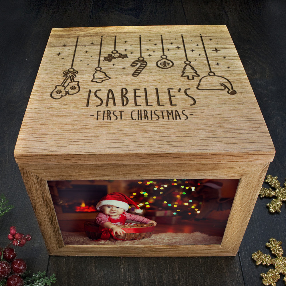 Personalised Large Oak Photo Keepsake Box - Baby's First Christmas Design - Personalised Gift Solutions - 1