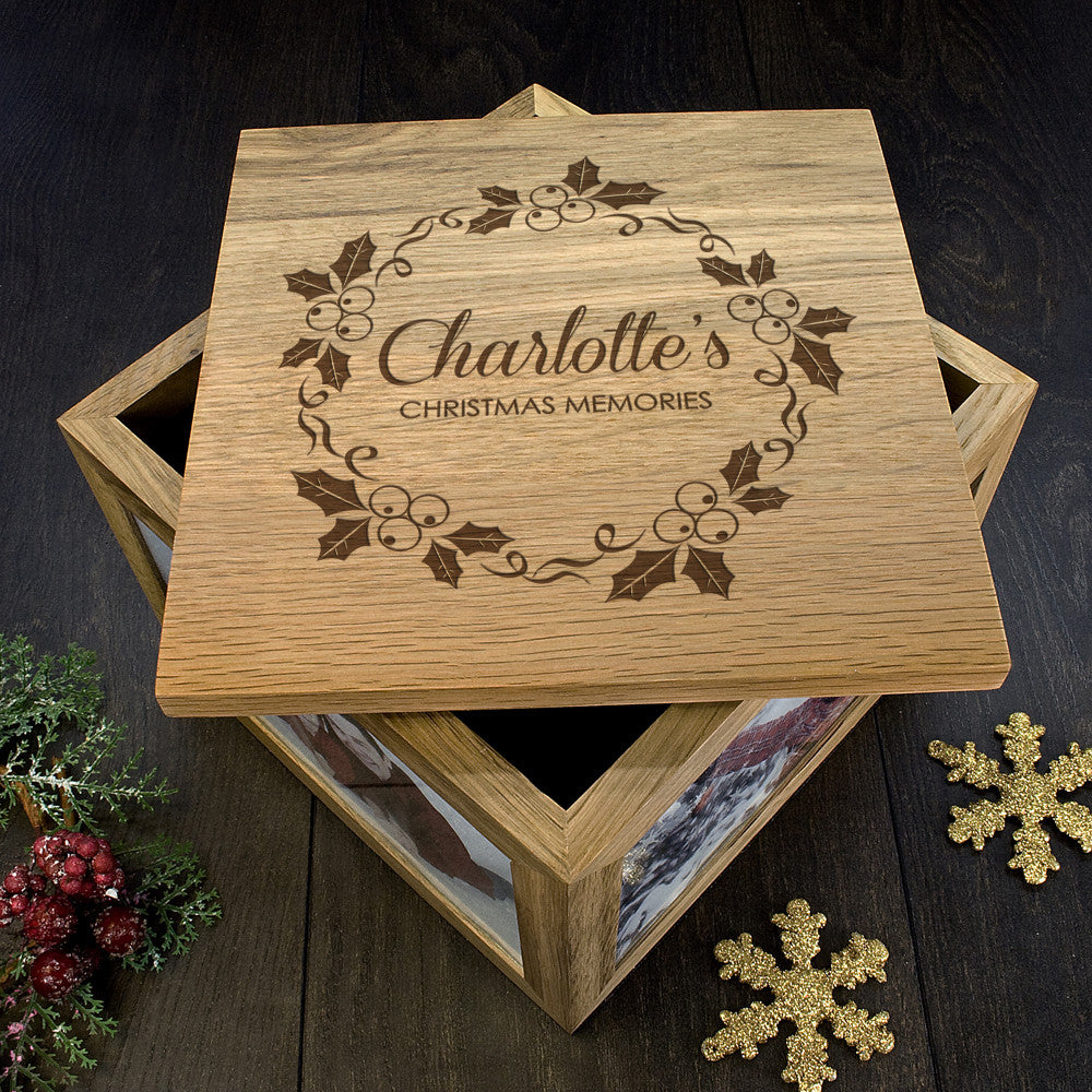 Personalised Large Oak Photo Keepsake Box - Christmas Mistletoe Design - Personalised Gift Solutions - 1