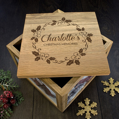 Personalised Memory Box - Large Wooden - Christmas Holly