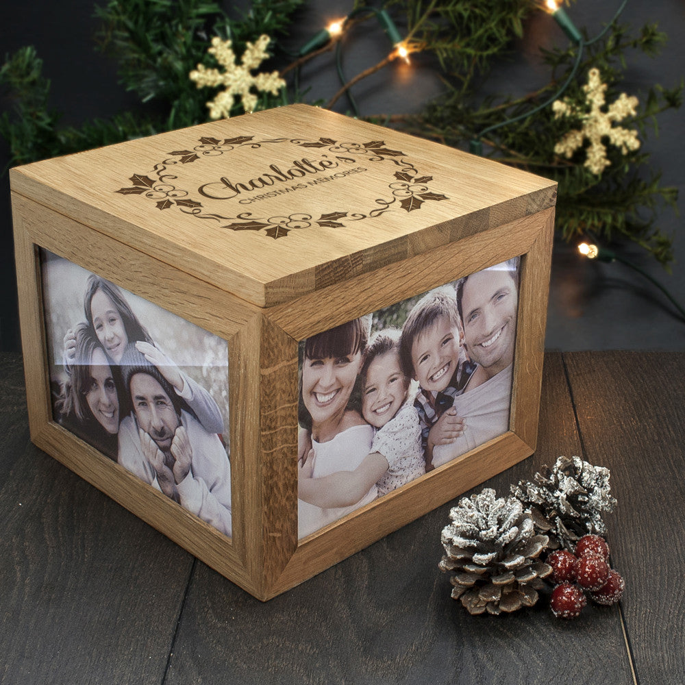 Personalised Large Oak Photo Keepsake Box - Christmas Mistletoe Design - Personalised Gift Solutions - 5