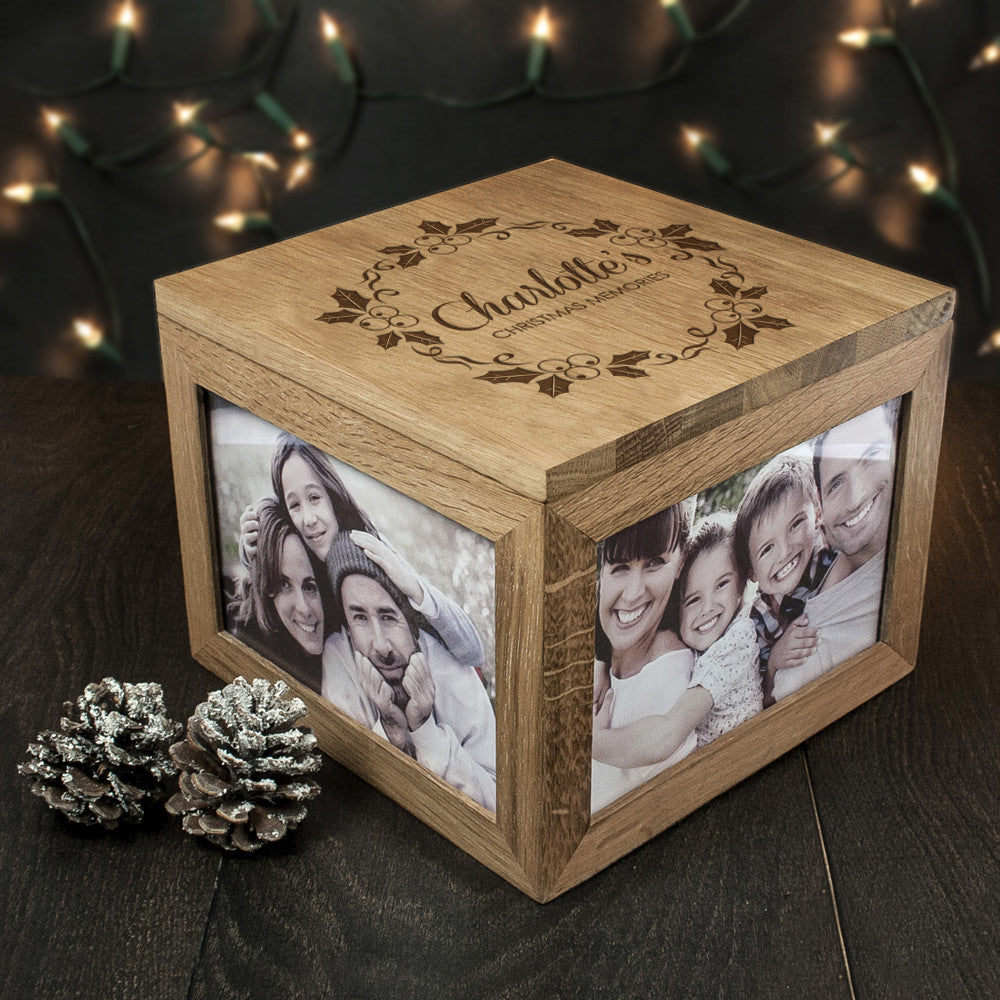Personalised Large Oak Photo Keepsake Box - Christmas Mistletoe Design - Personalised Gift Solutions - 3