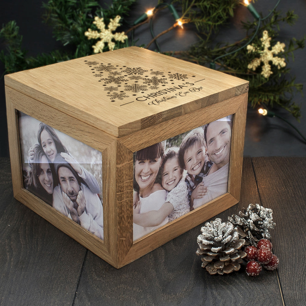 Personalised Large Oak Photo Keepsake Box - Christmas Tree Design - Personalised Gift Solutions - 1