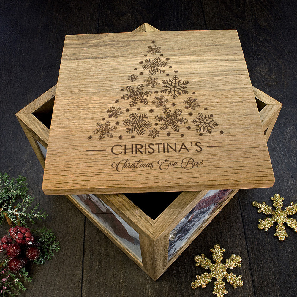 Personalised Large Oak Photo Keepsake Box - Christmas Tree Design - Personalised Gift Solutions - 6