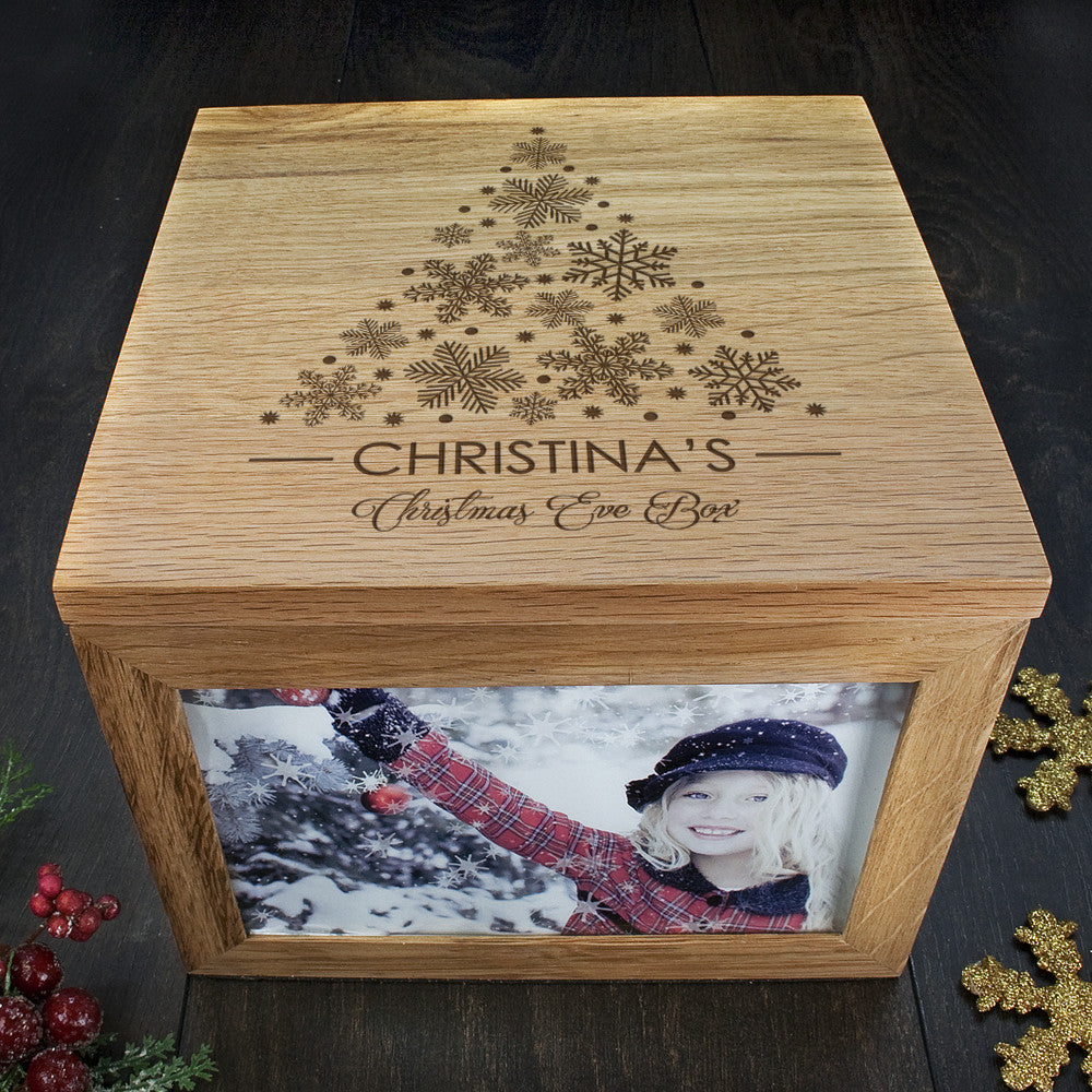 Personalised Large Oak Photo Keepsake Box - Christmas Tree Design - Personalised Gift Solutions - 2