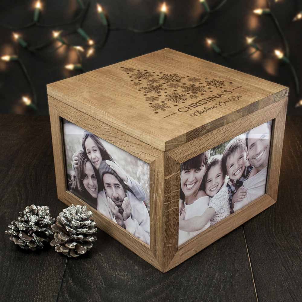 Personalised Large Oak Photo Keepsake Box - Christmas Tree Design - Personalised Gift Solutions - 4