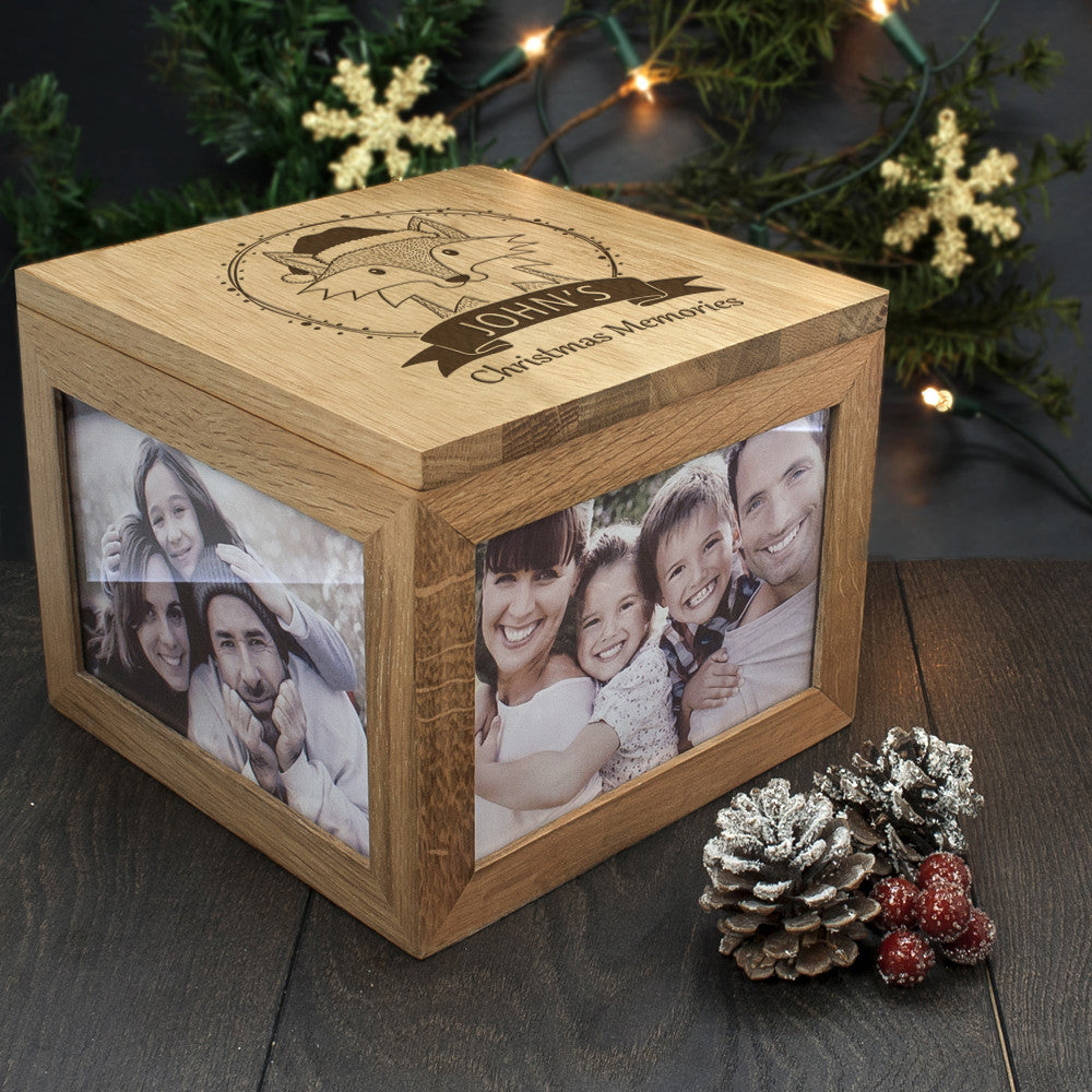 Personalised Large Oak Photo Keepsake Box - Christmas Woodland Fox - Personalised Gift Solutions - 6