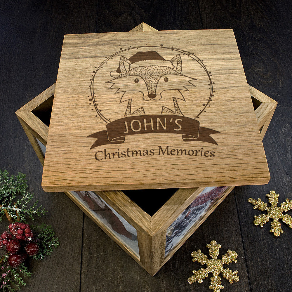 Personalised Large Oak Photo Keepsake Box - Christmas Woodland Fox - Personalised Gift Solutions - 4