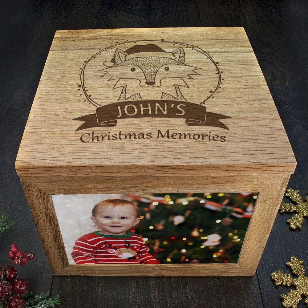 Personalised Large Oak Photo Keepsake Box - Christmas Woodland Fox - Personalised Gift Solutions - 3