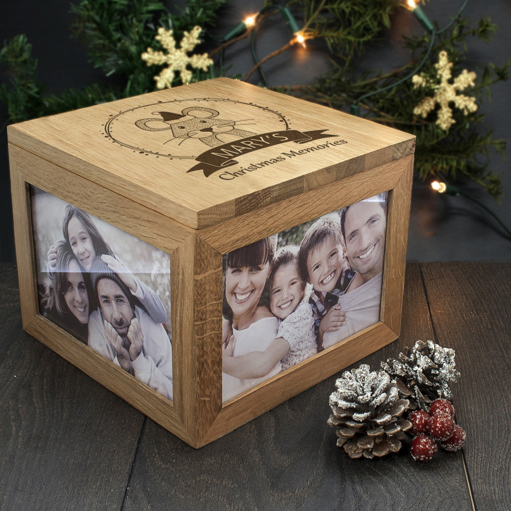 Personalised Large Oak Photo Keepsake Box - Christmas Woodland Mouse - Personalised Gift Solutions - 1