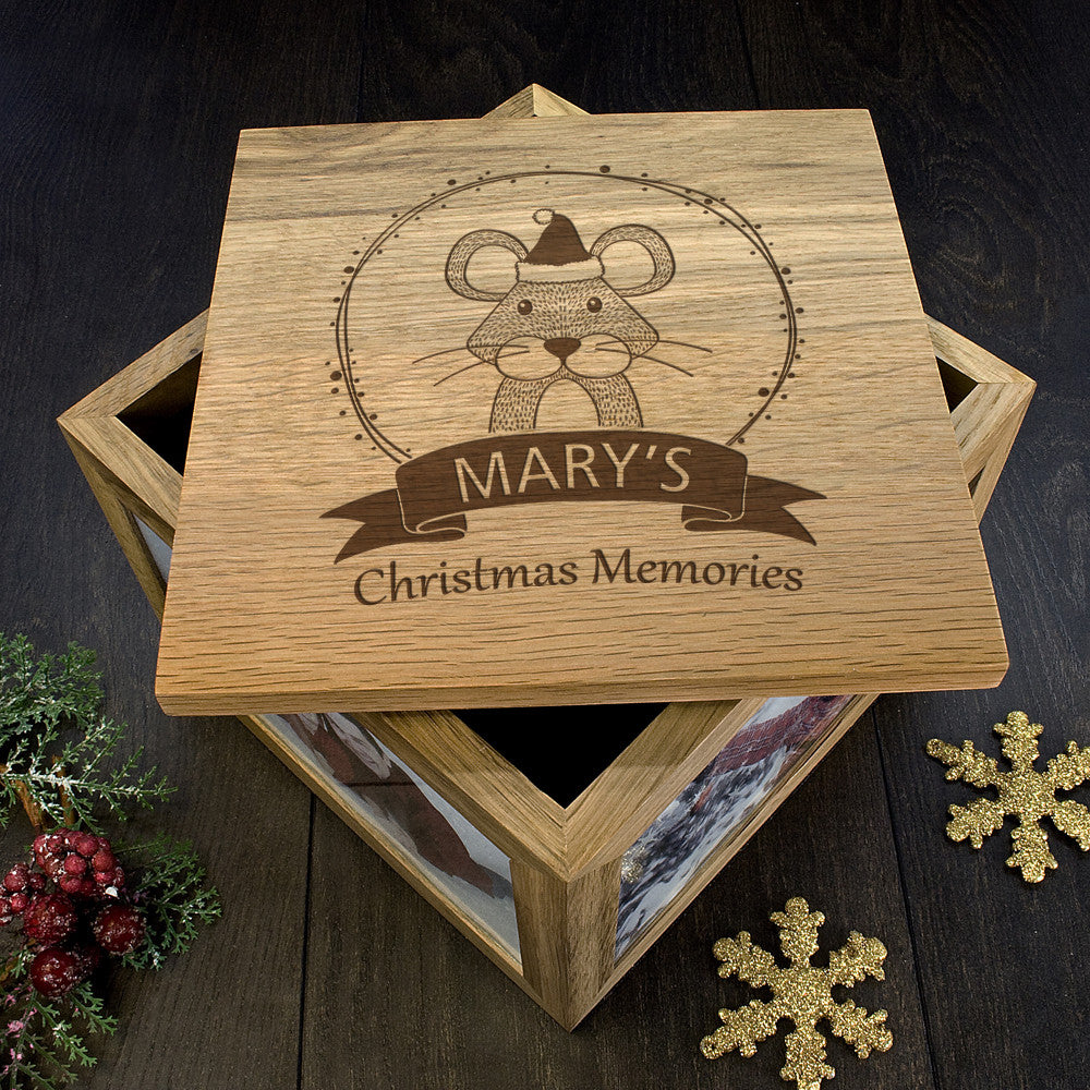 Personalised Large Oak Photo Keepsake Box - Christmas Woodland Mouse - Personalised Gift Solutions - 6
