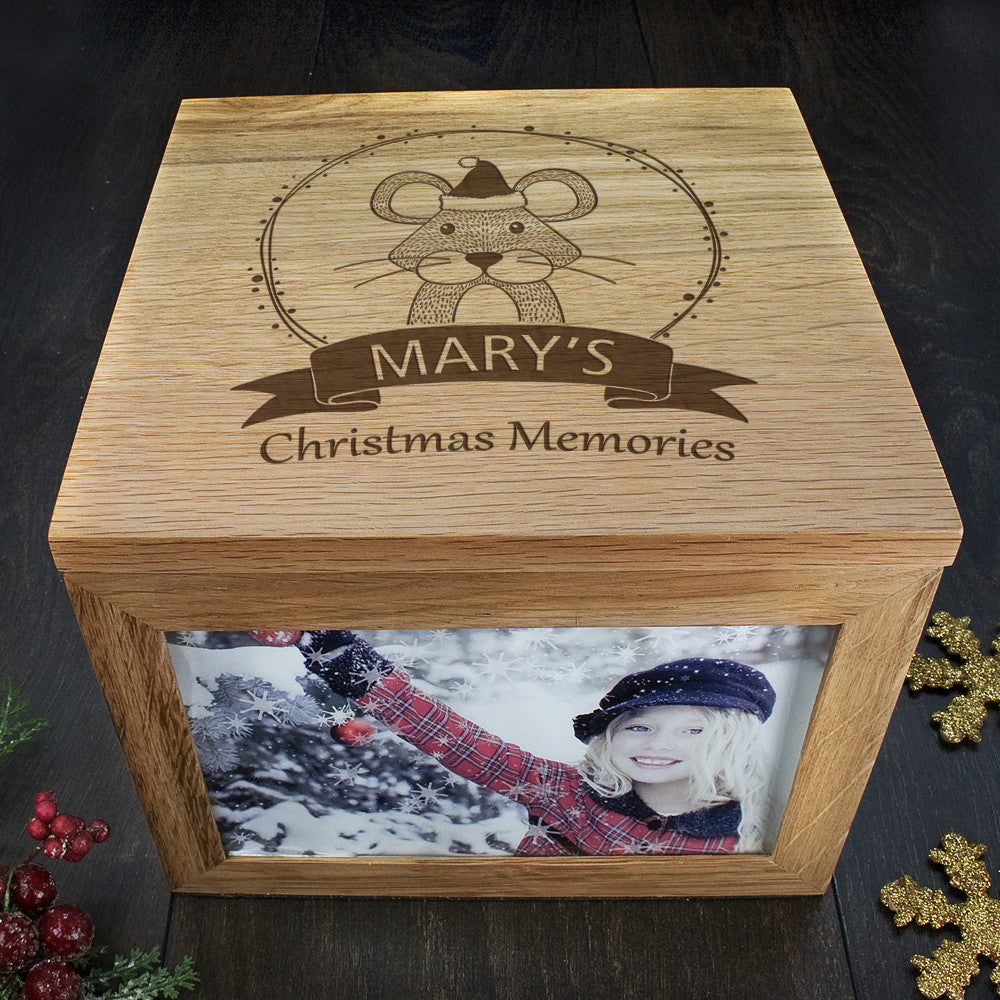 Personalised Large Oak Photo Keepsake Box - Christmas Woodland Mouse - Personalised Gift Solutions - 4