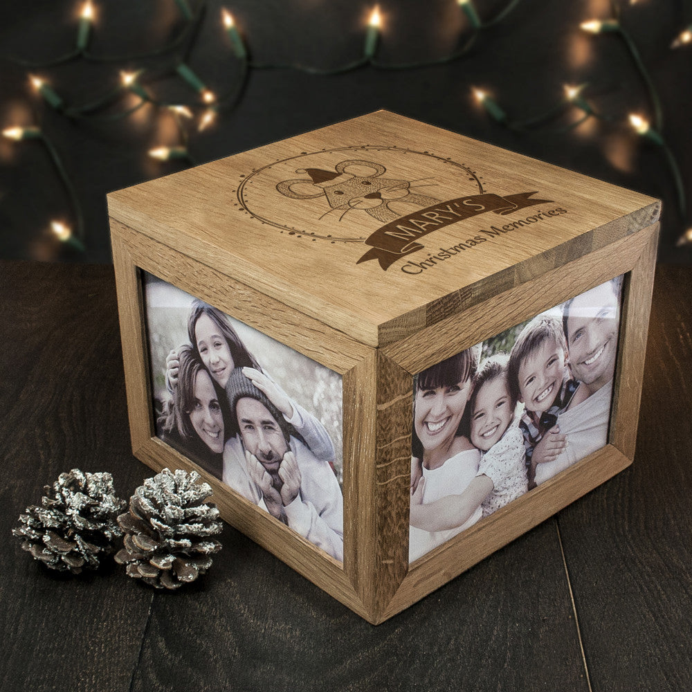 Personalised Large Oak Photo Keepsake Box - Christmas Woodland Mouse - Personalised Gift Solutions - 3