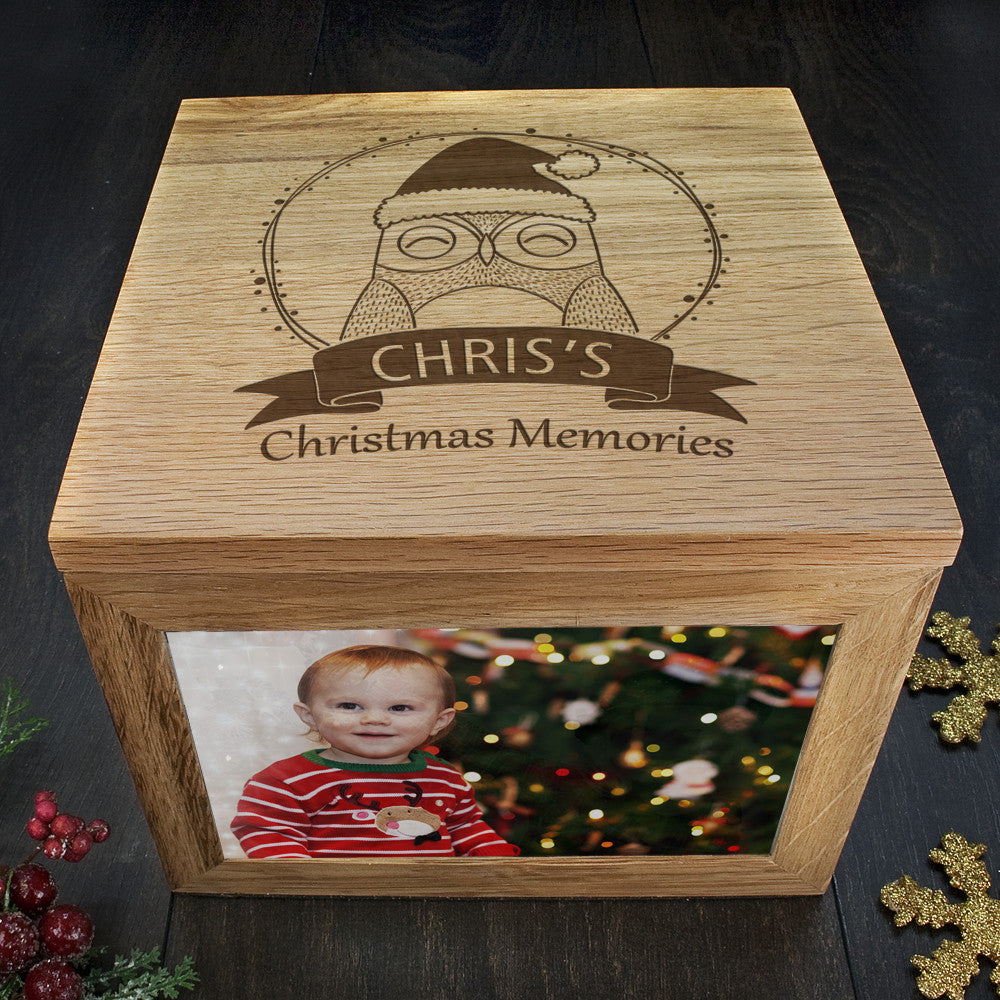 Personalised Large Oak Photo Keepsake Box - Christmas Woodland Owl - Personalised Gift Solutions - 3