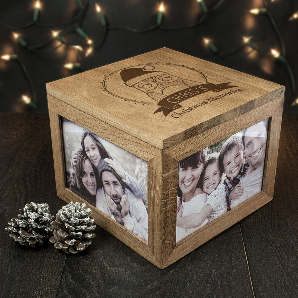 Personalised Large Oak Photo Keepsake Box - Christmas Woodland Owl - Personalised Gift Solutions - 2