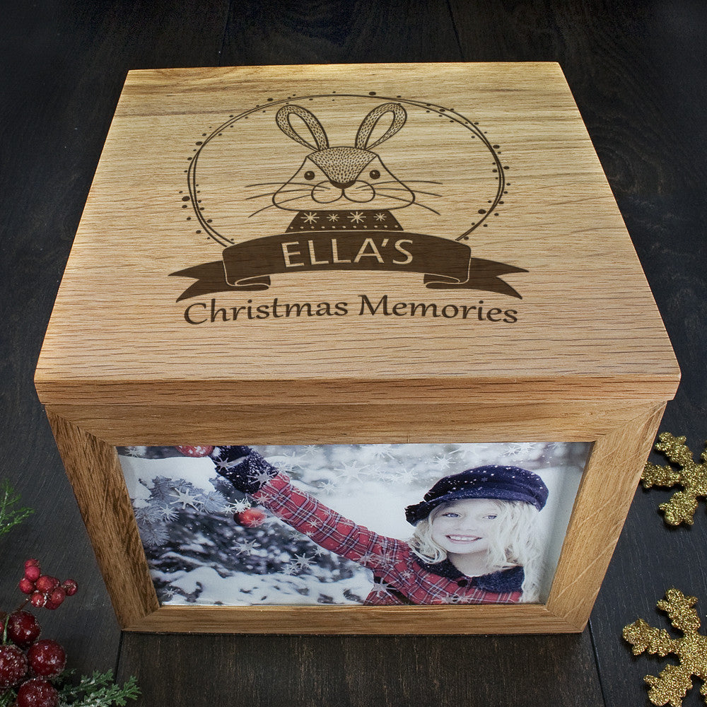 Personalised Large Oak Photo Keepsake Box - Christmas Woodland Rabbit - Personalised Gift Solutions - 3