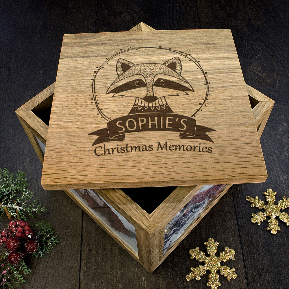 Personalised Large Oak Photo Keepsake Box - Christmas Woodland Raccoon - Personalised Gift Solutions - 5