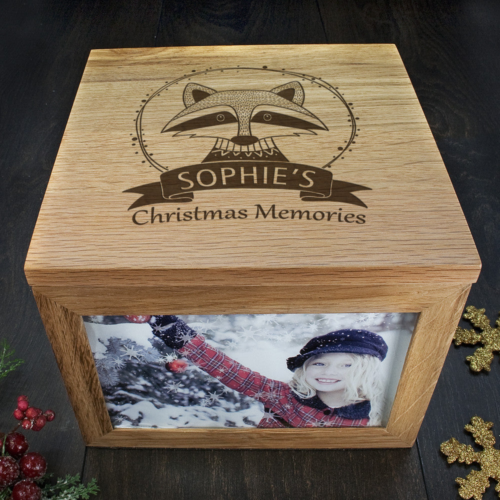 Personalised Large Oak Photo Keepsake Box - Christmas Woodland Raccoon - Personalised Gift Solutions - 3