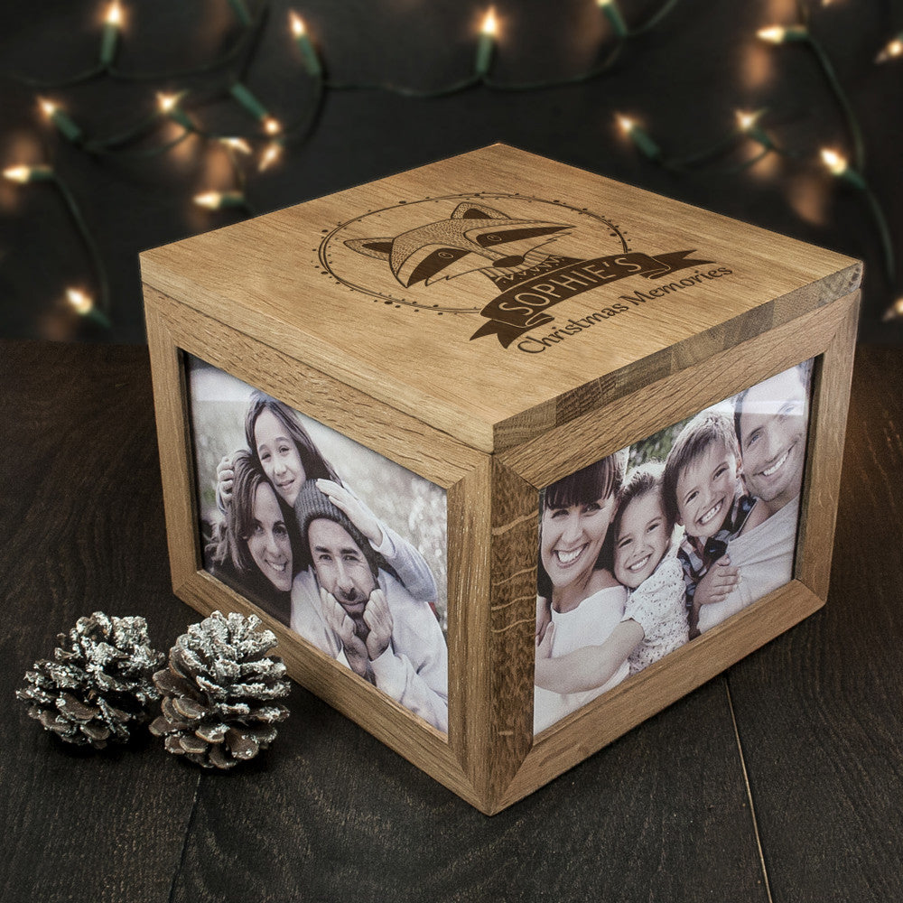 Personalised Large Oak Photo Keepsake Box - Christmas Woodland Raccoon - Personalised Gift Solutions - 2